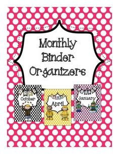 Get organized in 2015!  Includes binder covers (and spines) for each month. You can use these to keep papers organized by month!  The spines are solid colored.  It also includes a label for each month.  Labels measure 3 inches x 3 inches.  This work is licensed under a Creative Commons Attribution-NonCommercial-NoDerivs 3.0 Unported License.
