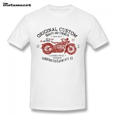 $12.22 Men T shirt Original Custom Quality And Strength Red Motorbike Handcrafted Garments Printed Short Sleeve Tees Shirt MTC057