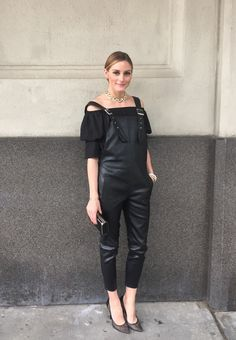 Here I am on my way tothe opening of theSouth Street Seaport Studios last week.I'm wearing a pair of leather overalls layered over an off the shoulder blouse. For accessories I'm wearing a pair ofJimmy Choo pumps and a Hayward slim box clutch. Hope everybody has a wonderful day!