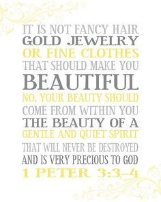 Beauty from Within 1 Peter 3 3 4 Scripture DIY by PrintablePrints Available for purchase on Etsy