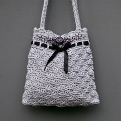 Grey Crochet Purse  - Instant download PDF PATTERN - Permission to Sell Finished Items by PatternsbyMarianneS on Etsy https://www.etsy.com/listing/118630124/grey-crochet-purse-instant-download-pdf