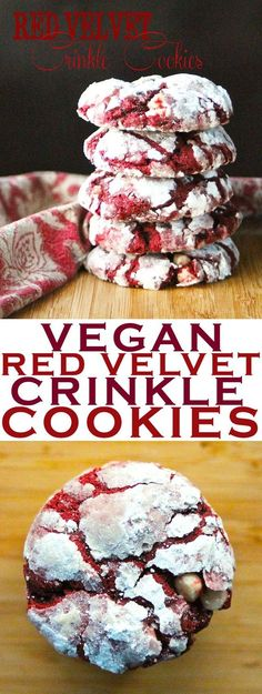 Bite into this perfect holiday treat: Red Velvet Crinkle Cookies! Bite into this perfect holiday treat: Red Velvet Crinkle Cookies! No one will believe they are vegan. Click the photo for the full recipe. Healthy Vegan Dessert, Cake Vegan, Vegan Dessert Recipes, Vegan Treats, Vegan Foods, Vegan Snacks, Cookies Vegan, Vegan Recipes For One, Vegan Baking Recipes