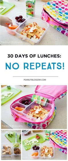 30 days of kids school lunch ideas: No Repeats! 30 Days of school lunches: no repeats! Easy tricks for getting those lunch boxes filled fast, even on busy mornings. Kid friendly, mom approved food ideas that make everyone happy. Whats For Lunch, Lunch To Go, Lunch Time, Cold Lunches, Lunch Snacks, Lunch Box Recipes, Baby Food Recipes, Toddler Meals, Kids Meals
