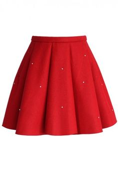 Crystal Grace Wool Skirt in Red