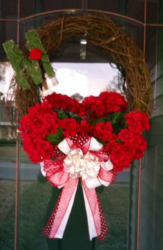 Valentine/Spring & Summer Wreath with red geraniums and a moss letter accent.