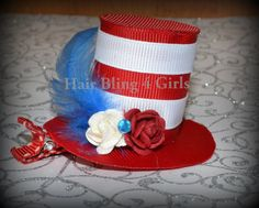 Dr. Suess hat and Cat in the Hat Hair clip and Green eggs and ham bow centerpiece idea