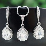 Lux Cubic Zirconia Bridal Jewelry set from EarringsNation