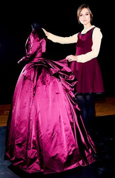 Keira Knightley and costume designer Jacqueline Durran donate a dress from #AnnaKarenina to the Hollywood Costume Exhibit at the Victoria and Albert Museum in London!