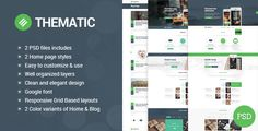 Thematic - clean, modern and flat PSD theme. by thundertheme Thematic landing page, clean, modern and flat PSD Template good foryour business and creative portfolio sites. 6 PSD files includ