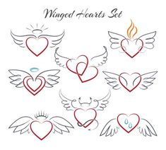 Hearts with wings in doodle style vector. Hearts with wings in doodle style vector illustration isolated on white background. Decoration sketch heart with nimbus Mini Tattoos, Cute Tattoos, Body Art Tattoos, Tattoo Drawings, Small Tattoos, Sleeve Tattoos, Angel Devil Tattoo, Angel And Devil, Small Angel Tattoo