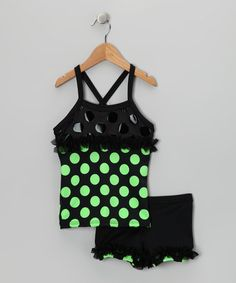 Take a look at this Green Polka Dot Ruffle Tank & Shorts - Toddler & Girls by Lexi-Luu Designs on #zulily today!