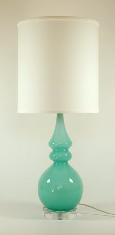 turquoise silhouette glass lamp   by loving lighting #home_decor #vintage