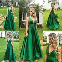Charming Prom Dress, Long Prom Dresses, Sexy Evening Dress, Deep V Neck Evening Party Dress P0249