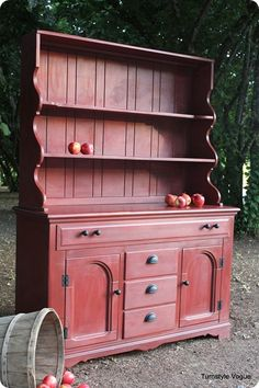 """Annie Sloan paint - Apple Barn Hutch  love that color! """"I'm going crazy over this kitchen hutch. It would work in any room."""" Always with Love Uniquely RA"""