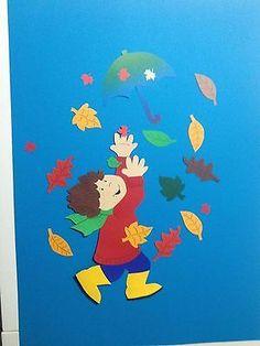 Fensterbild aus Tonkarton  Herbstkind Marc + Blätter + Zugabe , Schirm , Herbst