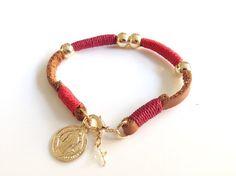 St. Benedict Medal Bracelet, Brown Leather bracelet, Gold filled beads Bracelet, Waxed nylon cord, Gold & Red Bracelet, Medalla San Benito