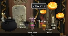 Mod The Sims - Witchy Brew Cauldron [Updated October 2019 ] Sims 4 Controls, Black Magic, Sims 4 Studio, Apple 5, Poison Apples, Sims 4 Mods, Electronic Art, Pumpkin, Brewing