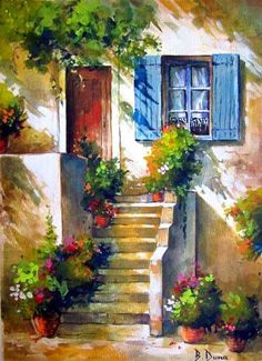 House with stairs – Berrin Duma – Turkish Paintings # … - Modern Watercolor Architecture, Watercolor Landscape Paintings, Watercolor Trees, Watercolor Background, Abstract Watercolor, Watercolor Illustration, Landscape Art, Simple Watercolor, Tattoo Watercolor