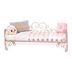 american girl house Give your doll a fancy bedroom makeover with the Our Generation Sweet Dreams scrollwork bed! This cute, copper-toned bedframe is decorated with scrollwor American Girl Bedrooms, American Girl Doll Room, American Girl House, American Girl Stuff, American Girl Furniture, Og Dolls, Girl Dolls, Barbie Doll, Fancy Bedroom