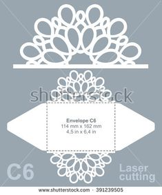 Vector die cut envelope template for laser cutting. Invitation envelope C6. Silhouette Cutter, Silhouette Curio, Silhouette Cameo Projects, Invitation Envelopes, Diy Invitations, Wood Craft Patterns, Cardboard Box Crafts, Bargello Quilts, Die Cut