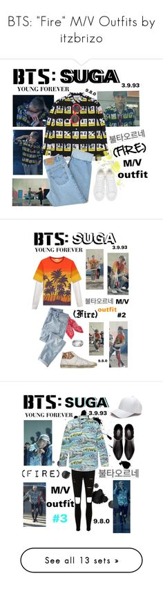 """""""BTS: """"Fire"""" M/V Outfits by itzbrizo"""" by itzbrizo ❤ liked on Polyvore featuring Fire, kpop, bts, BangtanBoys, Alexander McQueen, Levi's, Yves Saint Laurent, Wrap, Blue Nile and Zara"""