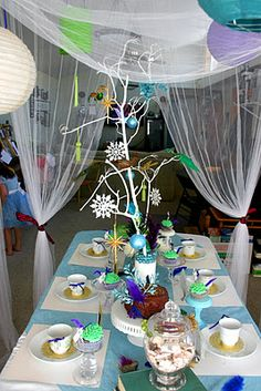 Alice in Winter Wonderland Tea Party with peacock inspiration