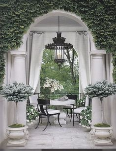 """tablescapes, terraces, courtyards, patios, etc. Alfresco """"To take place in the open air"""". Outdoor Rooms, Outdoor Dining, Outdoor Curtains, Outdoor Seating, Hang Curtains, Outdoor Lantern, White Curtains, Gazebos, Veranda Magazine"""
