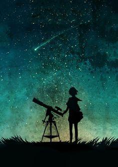 ночное небо, аниме, арт