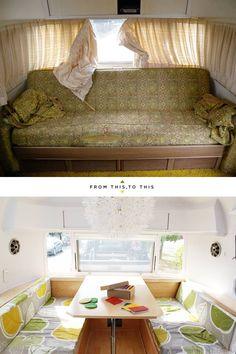 vieja caravana remodelada. El salón : via MIBLOG