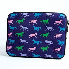 Kelley Equestrian Neoprene iPad Sleeve in Purple - Show your love for horses by incorporating it with your favorite technology! Soft neoprene sleeve zips at the top and helps ensure your iPad stays clean and safe.