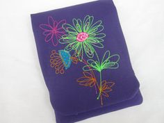 Kindle Paperwhite cover with bright floral machine embroidery fits kindle original, kindle 4, kindle paperwhite 3g, kobo touch