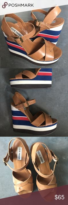 Steve Madden Wedges Super cute nautical inspired wedges, perfect for the summer! Some very slight wear as seen in photos but still in great shape. Super comfortable and easy to walk in. Make an offer and we can find a price that works for both of us! Steve Madden Shoes Wedges