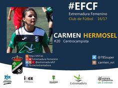 Carmen Hermosel. Carmen Solana de los Barros hasta la fecha no ha conocido una jugadora de su categoría. Y nosotros disfrutando de su fútbol. #EFCF #futfem #Almendralejo #Extremadura #futbol