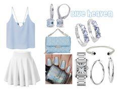 """Medium Blue Heaven"" by yanilovespickles ❤ liked on Polyvore featuring MANGO, Cartier, STELLA McCARTNEY, Blue Nile, David Yurman, Malaika and Miadora"