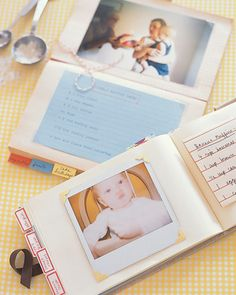 Keepsake baby journals can hold baby's favorite recipes, along with photographs of her reactions to new foods and pictures of her cake at every birthday. Add a list of food allergies plus tricks for getting her to eat her vegetables and they become practical references for baby-sitters and fun to look back on years down the road.
