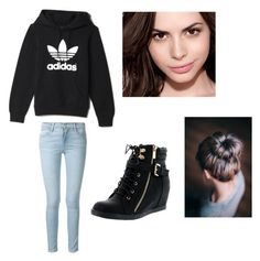 This is a very nice and easy outfit for school or to hangout in but it's still very cute and fashionable! Denim Top, Frame Denim, Simple Outfits, School Days, School Outfits, Maybelline, Collages, Polyvore Fashion, Adidas