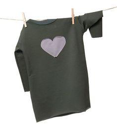 Love Dress khaki - tunika z długim rękawem. Tunika dla dziewczynki, surowo wykończona