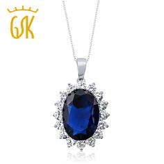 GemStoneKing 13.00 Ct Oval Blue Sapphire 925 Sterling Silver Women's Pendant Necklace