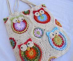 crochelinhasagulhas: Bolsas de coruja em crochê