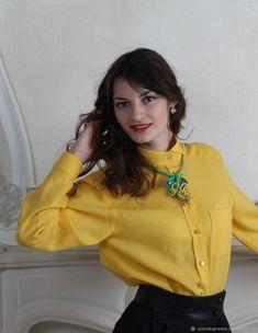 a7f245bf6f631da Рубашка женская классическая желтая – купить в интернет-магазине на Ярмарке  Мастеров с доставкой