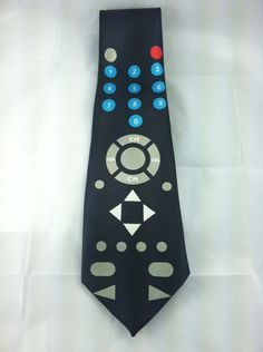 Men's Neck Tie TV Remote Control Black Clicker Novelty Channel Volume 56 inches #Unbranded #NeckTie