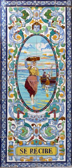 Azulejos. Antigua Pescadería (Madrid) Spain