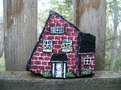 Hand Painted Rock Cottage Brick House Garden Decor by amylenore