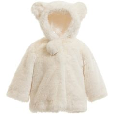 Baby girls very cute, ivory hooded jacket made from a soft modacrylic synthetic fur. Fully lined in silky satin polyester, the hood has adorable ears and a pompom tail on the back. With concealed poppers on the front, it has an additional large pompom at the opening of the neck.<br /> <ul> <li>100% modacrylic (super soft synthetic fur)</li> <li>Lining: 100% polyester (silky satin feel)</li> <li>Dry clean</li> <li>Concealed popper fastening</li> <li>Cute ears and...
