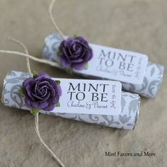 Purple wedding favors, mints in grey damask with purple roses Unique Wedding Songs, Wedding Songs Reception, Wedding Ideas To Make, Affordable Wedding Favours, Wedding Shower Favors, Wedding Favors Cheap, Personalized Wedding Favors, Wedding Crafts, Unique Weddings