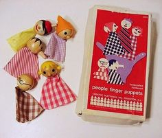 5-piece wooden People Finger Puppets with box, United States, 1962-65, by Creative Playthings.