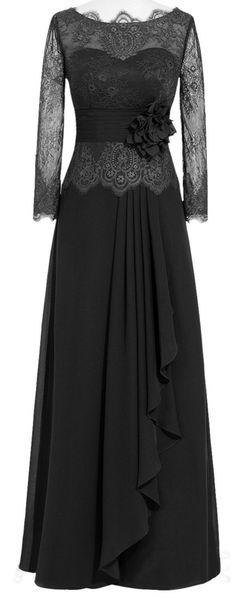 A-Line black chiffon & lace dress <3