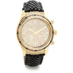 Michael Kors Small Layton Watch - Gold/Black (460 CAD) ❤ liked on Polyvore featuring jewelry, watches, chrono watches, water resistant watches, gold wristwatches, roman numeral watches e black chronograph watches