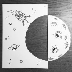 Awesome Illusion Tricks That Make Cartoons Jump Off The Paper 3d Paper Art, Paper Artwork, 3d Illusion Drawing, Illusion Tricks, Illustrator, Paper Illustration, 3d Drawings, Black And White Drawing, Sketch Inspiration