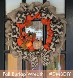 Fall Burlap Wreath DIY Chevron Orange Pumpkin